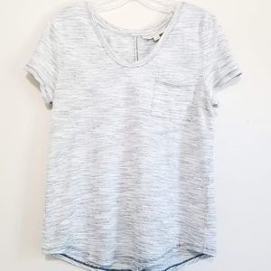 LOFT Gray & White Marled Striped Short Sleeve Tee